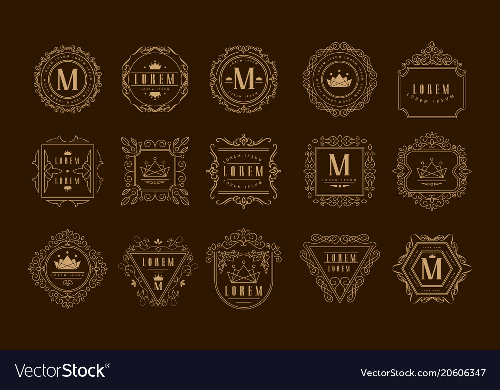 Monogram logo template set golden heraldic badge