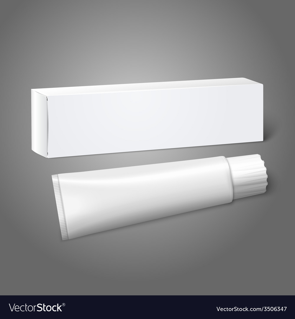 Realistic white blank paper package box with tube vector image