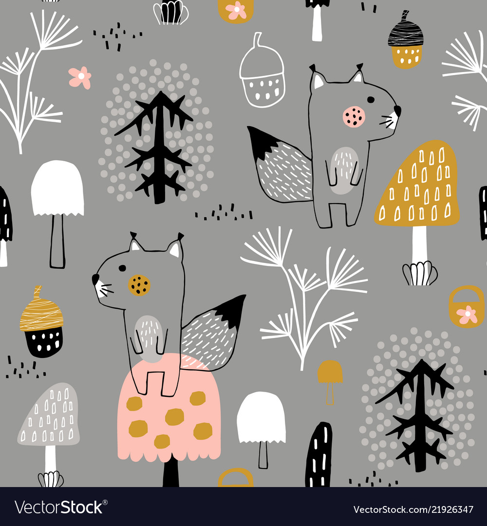 Seamless childish pattern with cute squirrels in