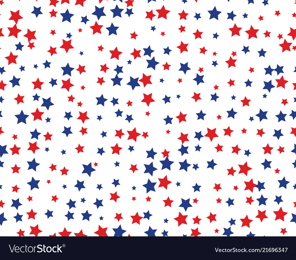 Seamless pattern with red and blue stars