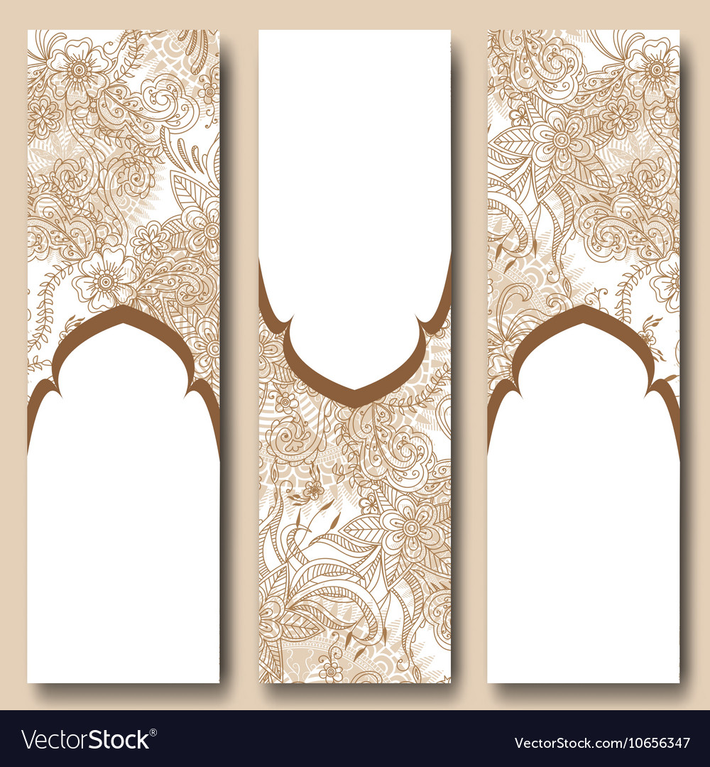 Set of floral banners templates in oriental style