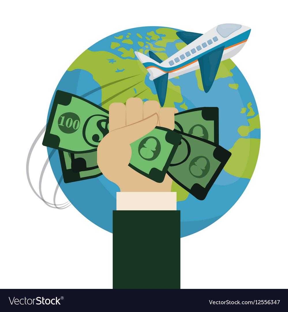 Travel World Around Hand Hold Money Plane Vector Image