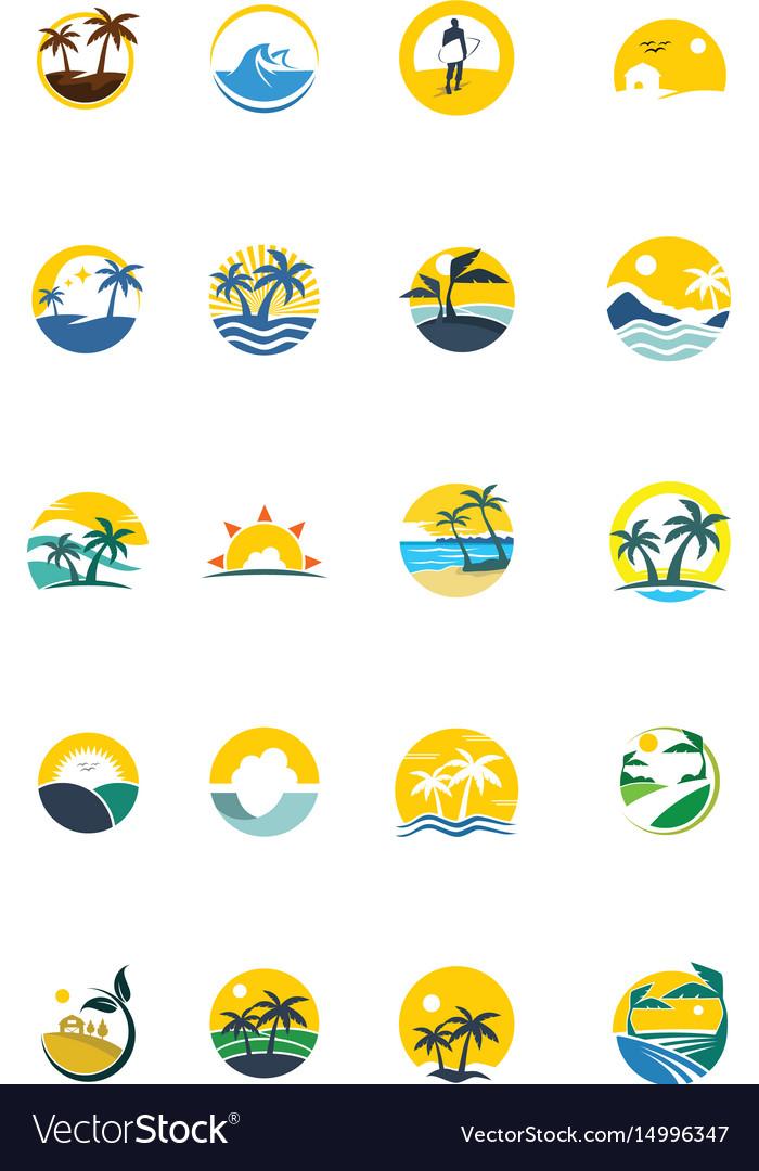 Unique summer logo set