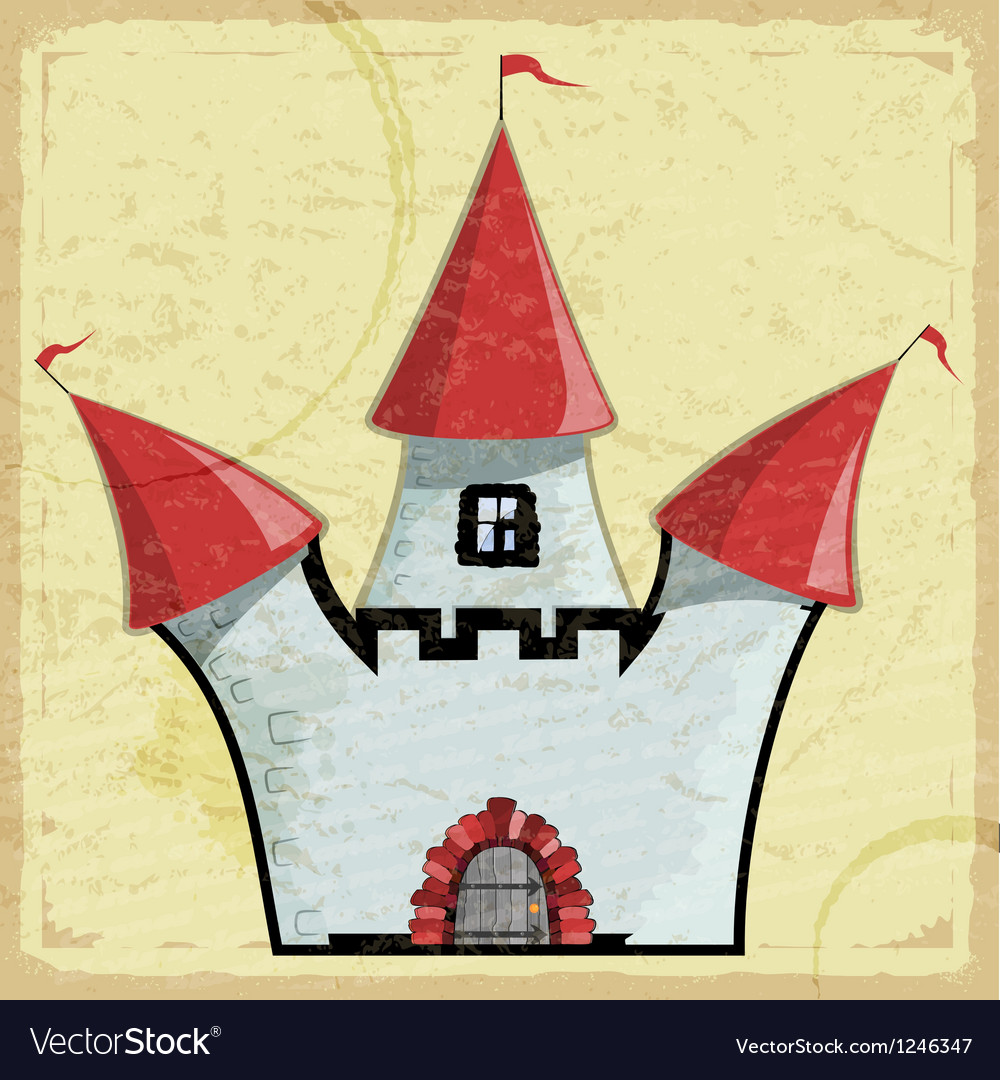 Vintage card with a picture of an old castle vector image