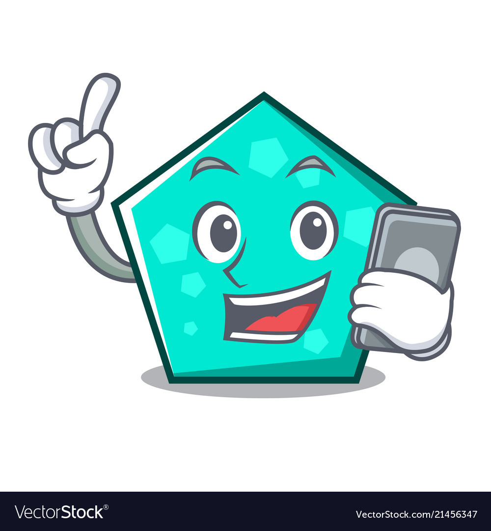 With Phone Pentagon Character Cartoon Style Vector Image