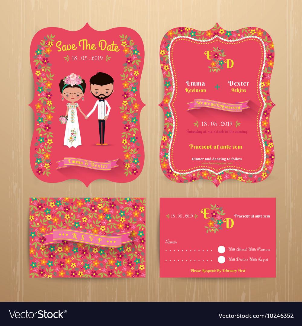 Bride and groom rustic floral wedding invitation Vector Image