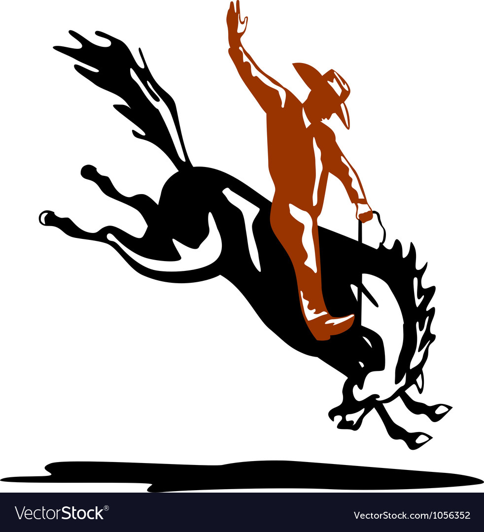 Bucking bronco horse vector image