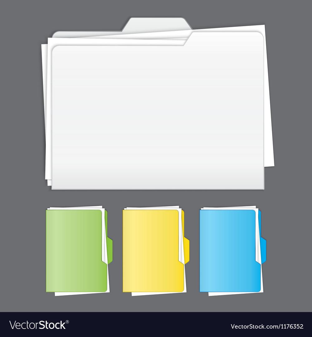 Colorful tabbed folder set vector image