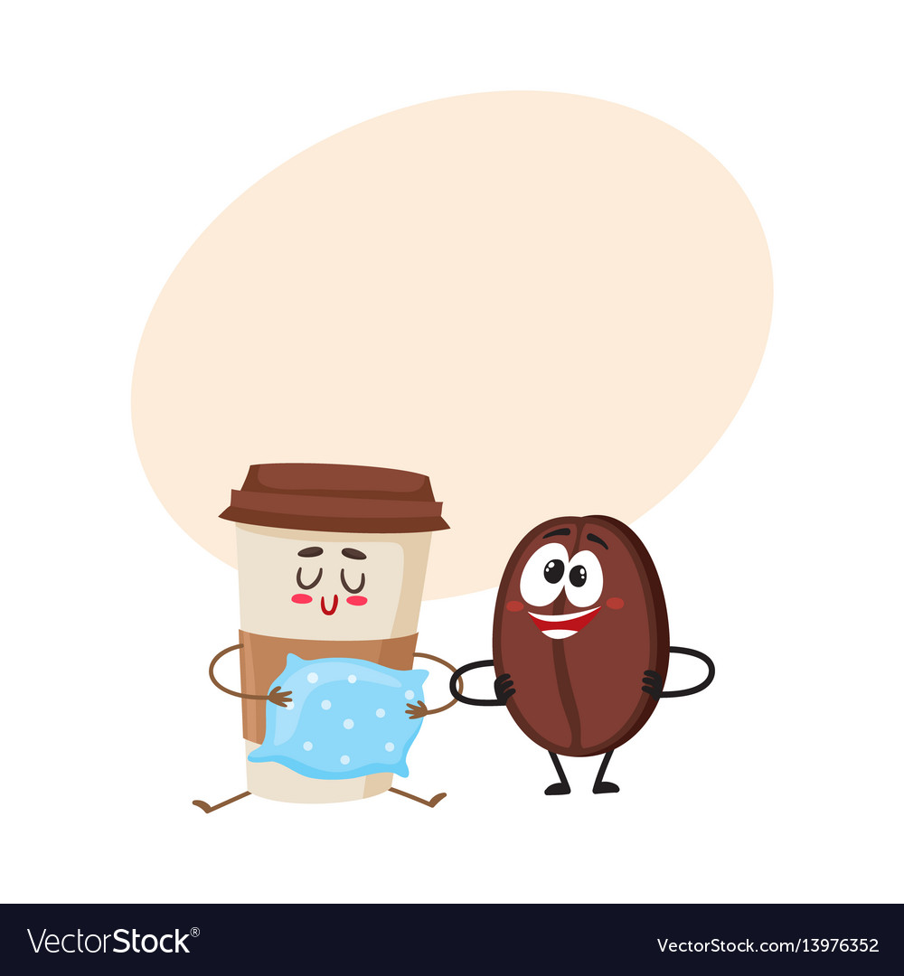 Crazy coffee bean and sleepy paper cup characters