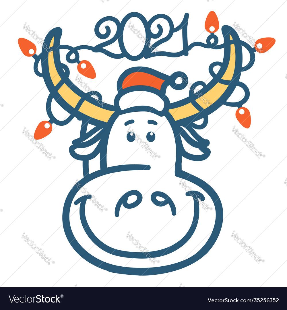 Cute cartoon bull head with winter holiday lights