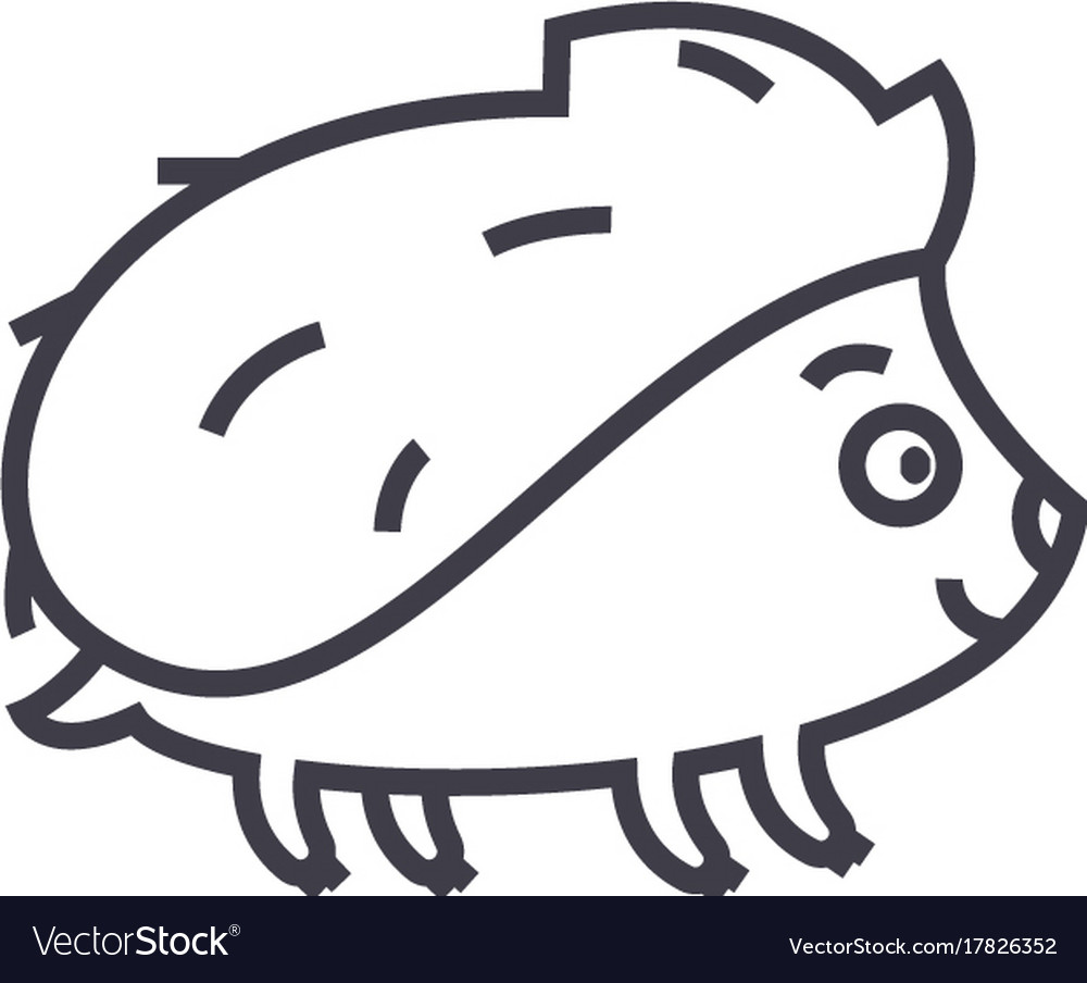 Cute hedgehong line icon sig vector image