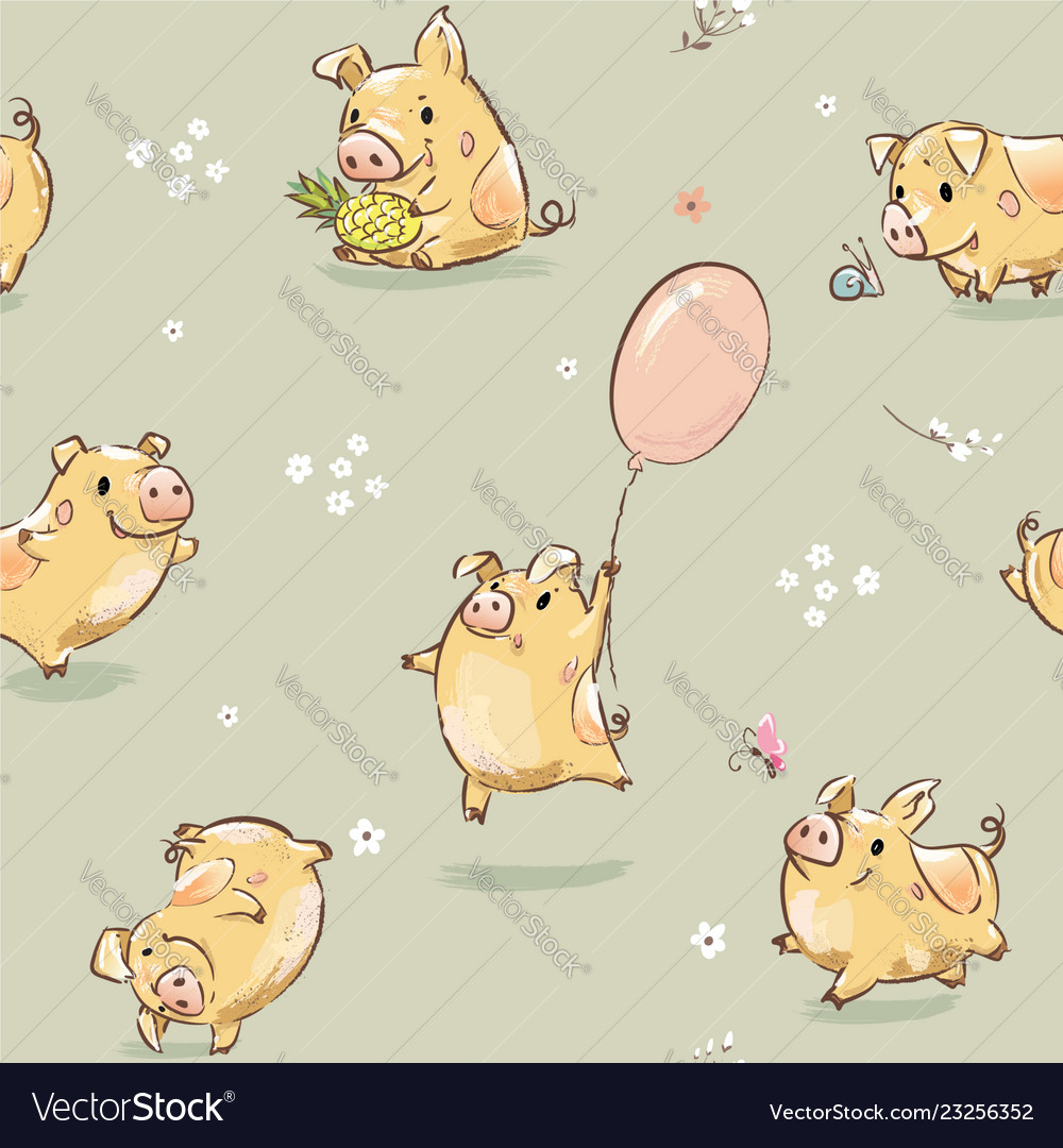 Funny happy pig seamless pattern