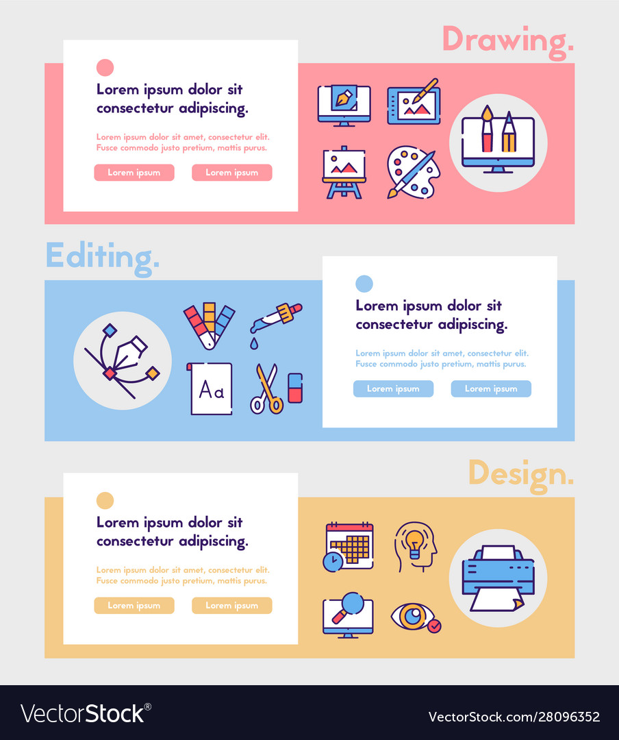 Graphic design studio color linear icons set