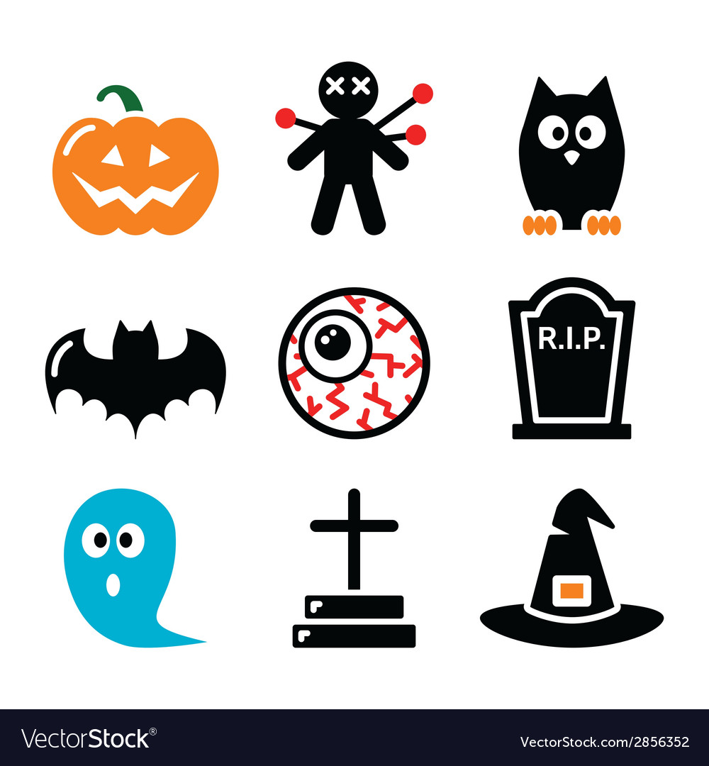 Halloween icons set - pumpkin witch ghost