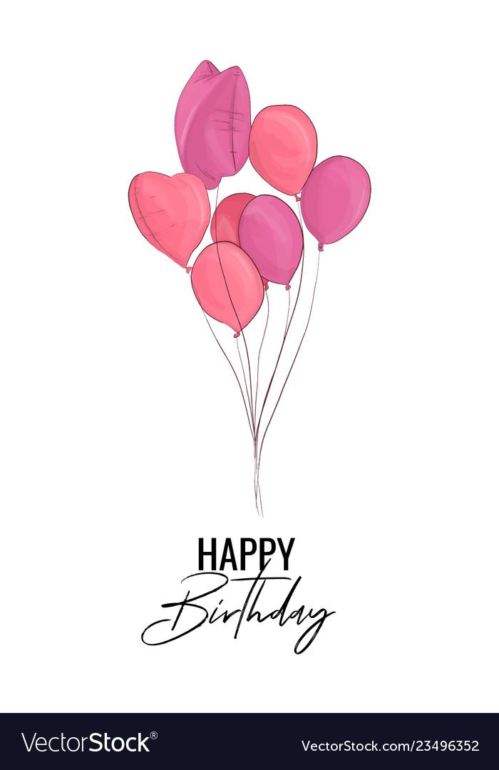 Happy birthday greeting card with pink balloons