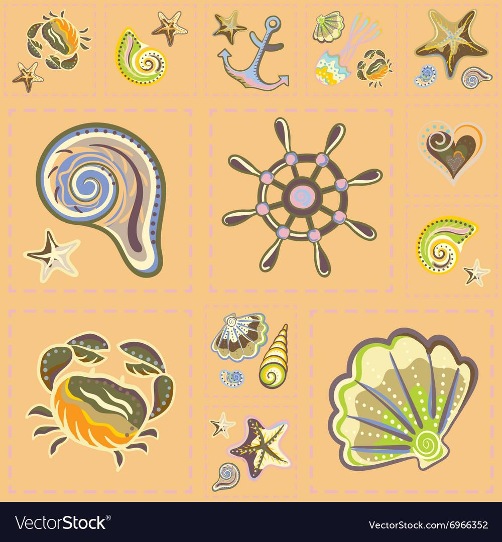 Marine Seamless Pattern Sea Patchwork