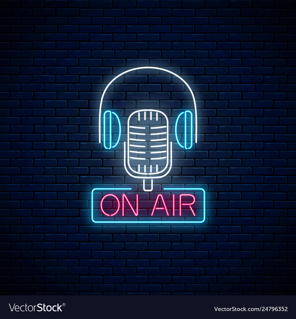 Neon on air sign with retro microphone and