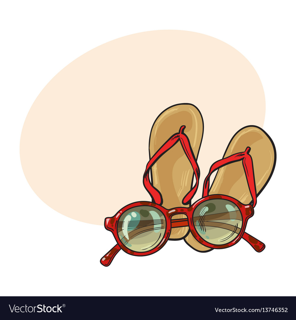 Pair of flip flops and fashionable round