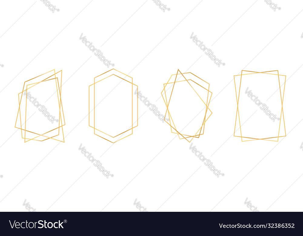 Set golden geometric frames in art deco style