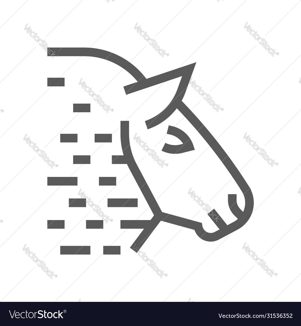 Sheep head farm animal line icon 48x48