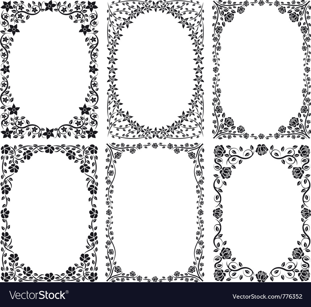 Silhouette of frames with floral decoration