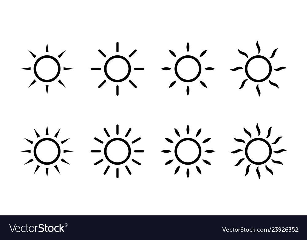 Sun sunshine line icons simple sun icon with rays