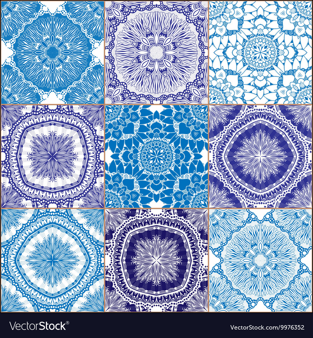 Tiles Floor Ornament Collection Royalty Free Vector Image