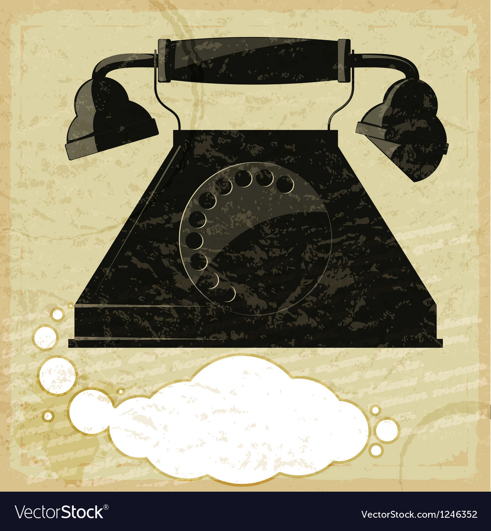 Vintage card with the image of the old telephone vector image