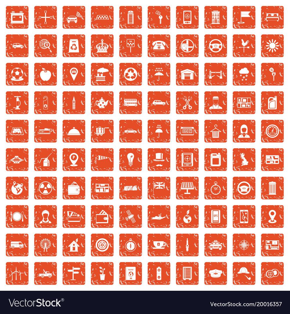 100 taxi icons set grunge orange