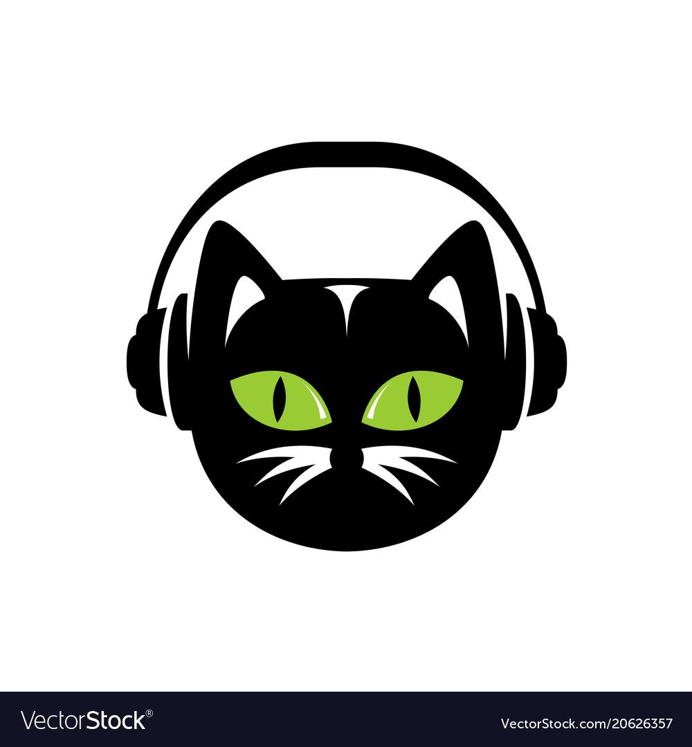 Black cat with headphones logo