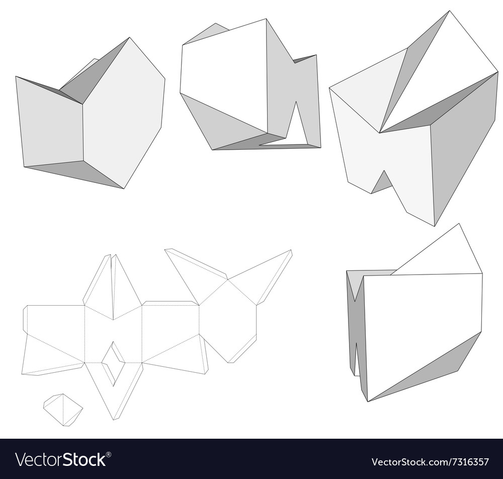 box with die cut template packing box for food vector image