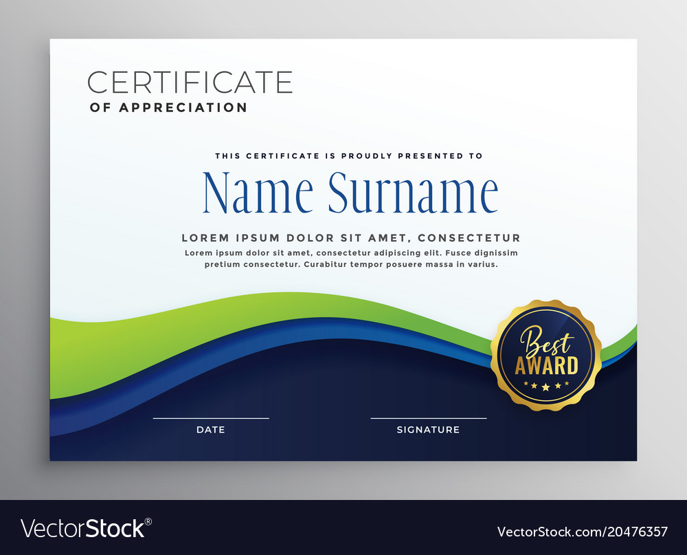 Certificae template design with blue green wave