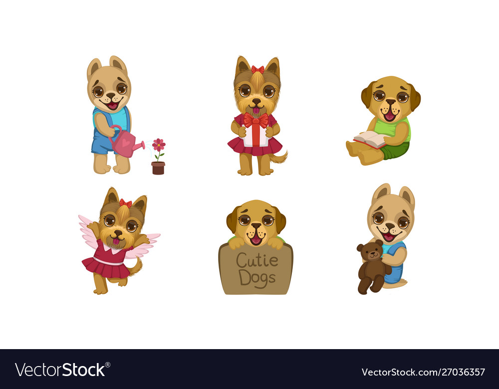 Cute little dogs characters set adorable