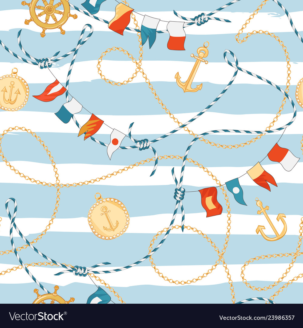 Fashion seamless pattern with golden chains anchor