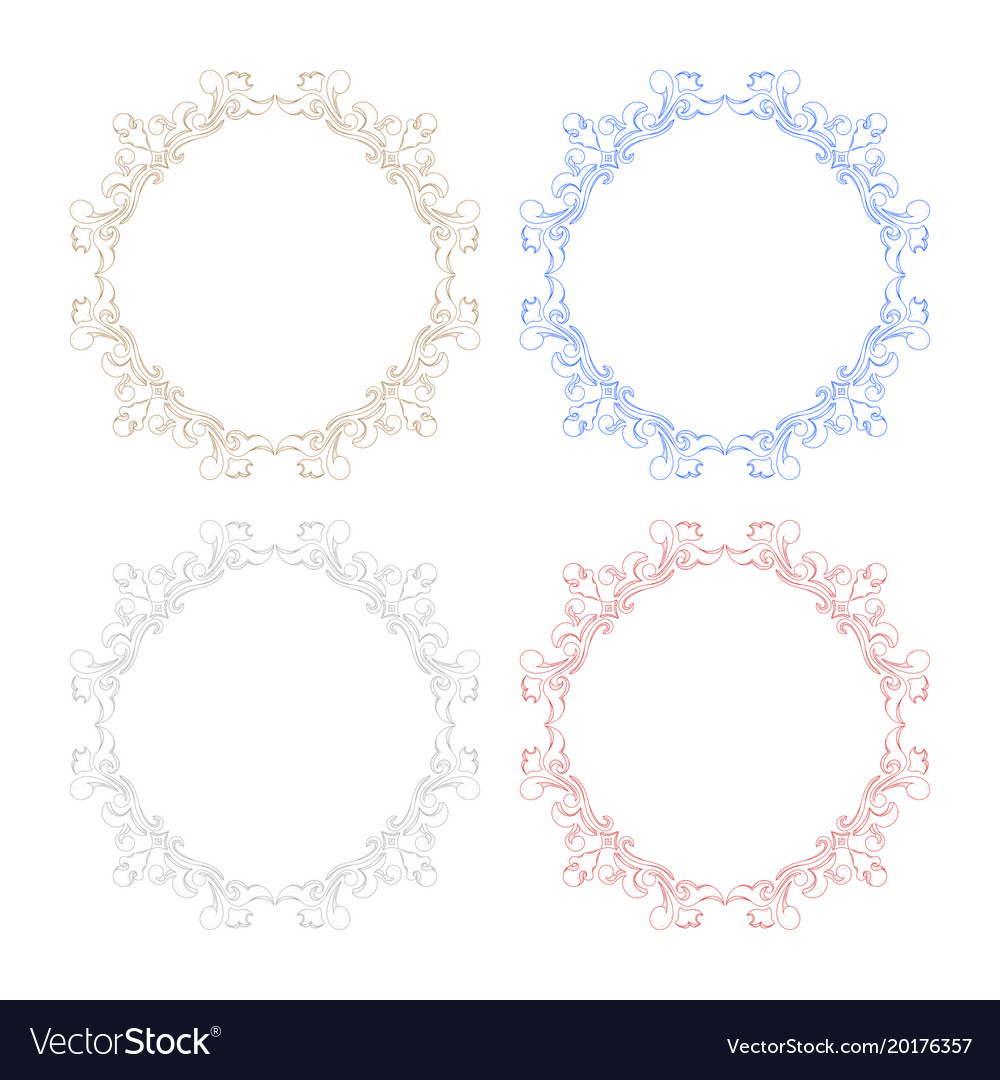 Floral ornament colored frames Royalty Free Vector Image