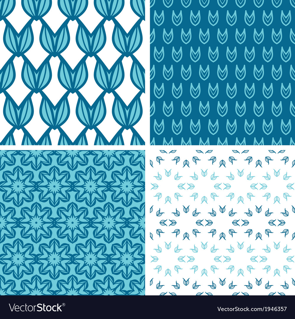Four abstract blue tulip shapes seamless patterns