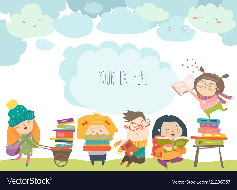 group of cartoon children reading books royalty free vector