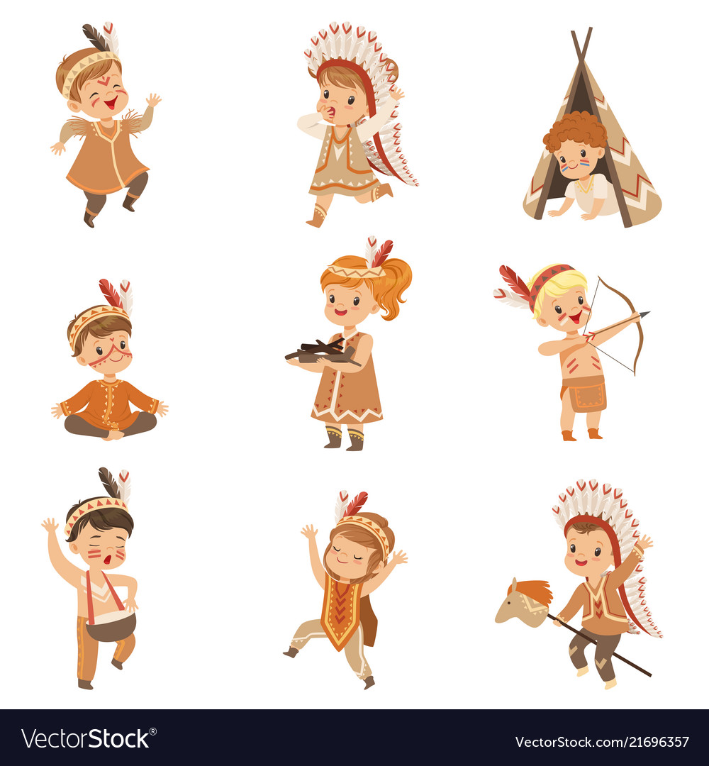 Kids in native indian costumes and headdresses
