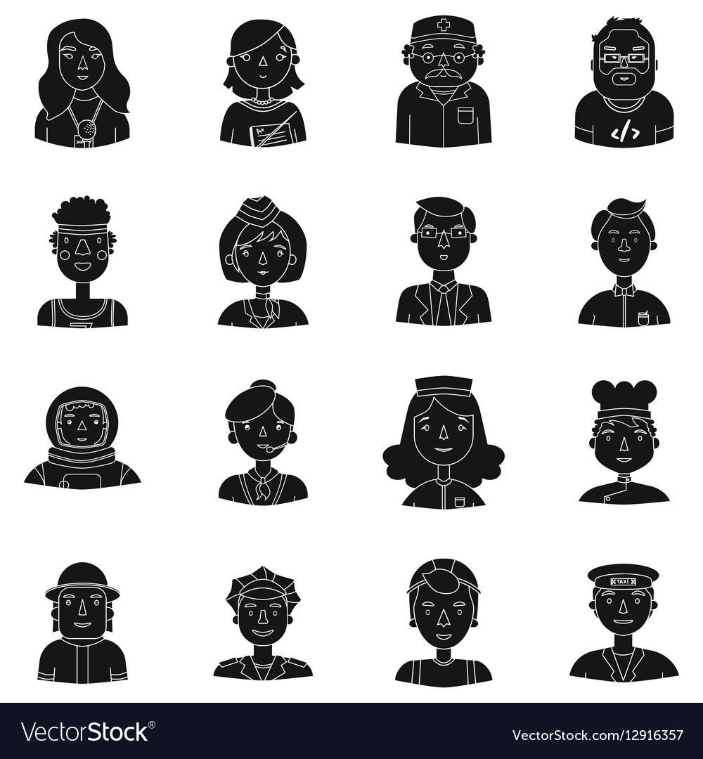 People of different profession set icons in black