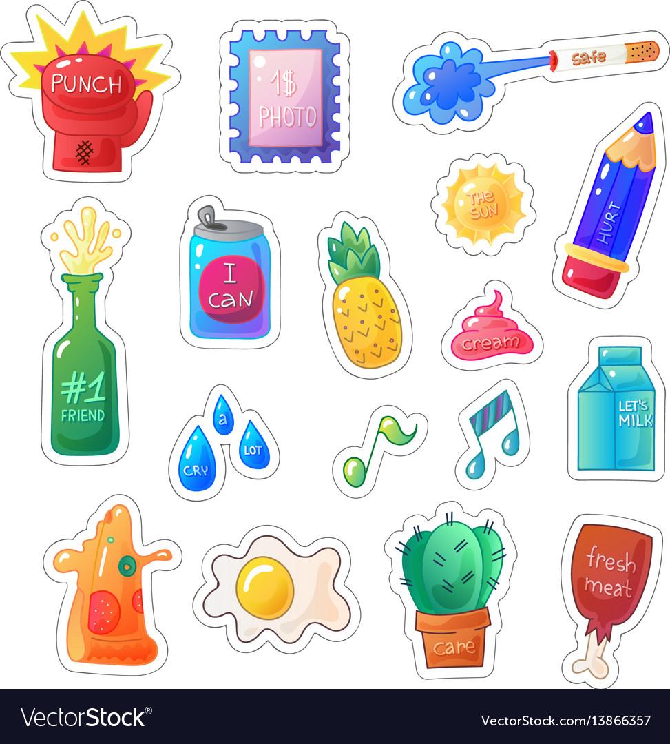 Sarcastic modern colorful sticker set fashion