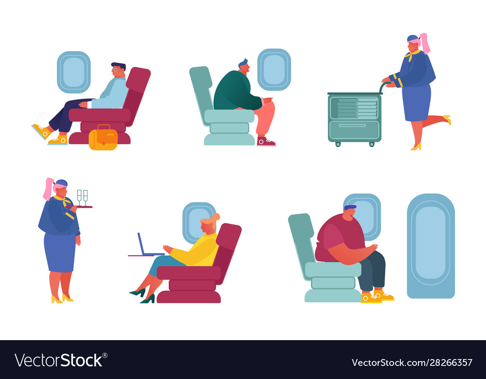 Set airplane crew and passenger characters in