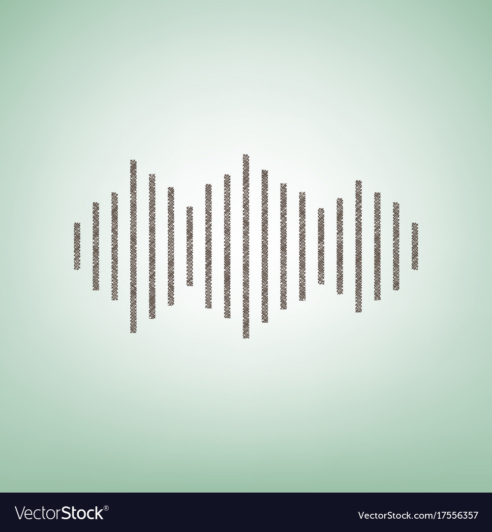 Sound waves icon brown flax icon on green vector image