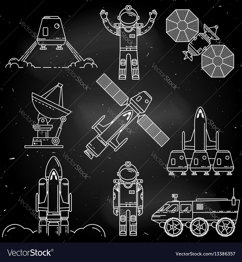 Space thin line icon vector image