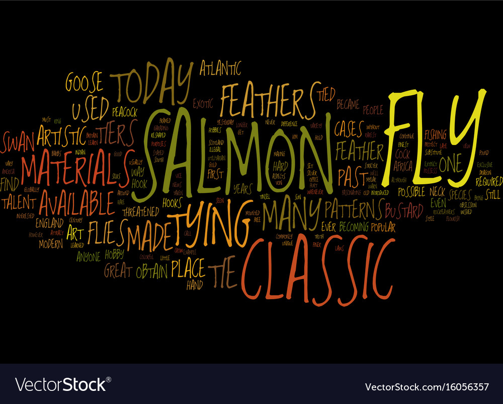 The classic samon fly text background word cloud vector image