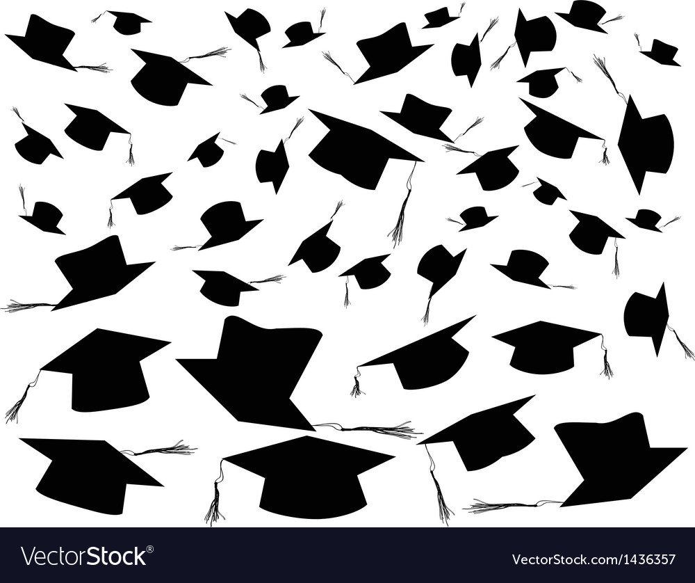 Tossing Graduation Caps Background Royalty Free Vector Image