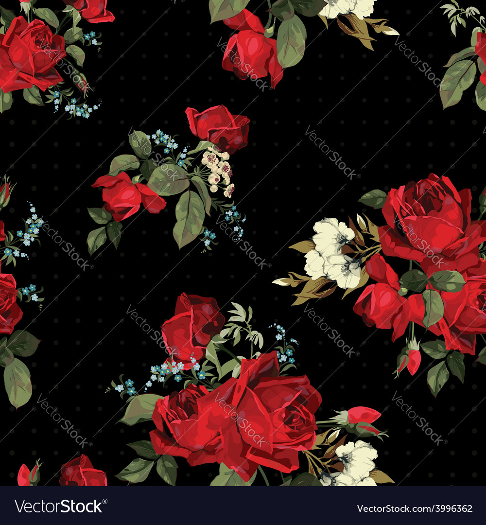 Abstract seamless floral pattern with red roses on