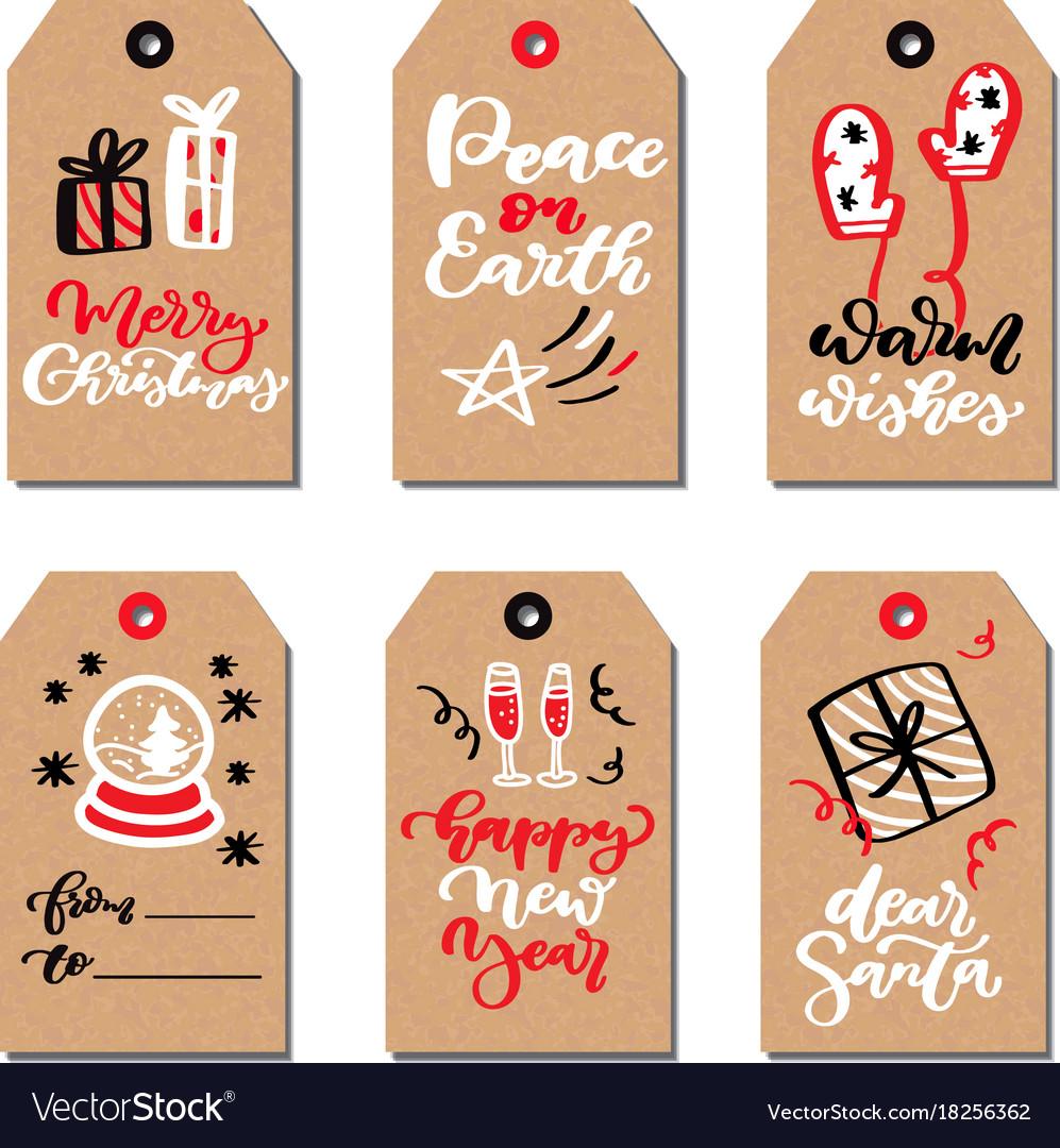 Christmas modern gift tags set with hand drawn