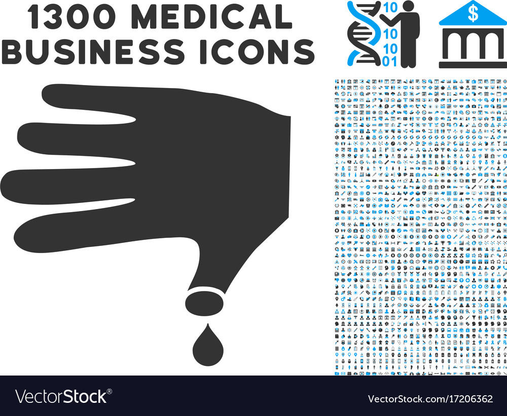Hand wound icon with 1300 medical business icons