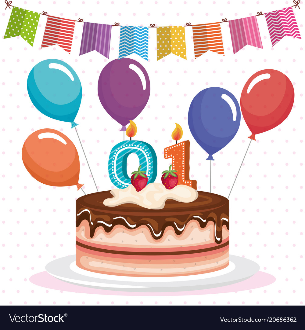 Happy birthday cake celebration card Royalty Free Vector