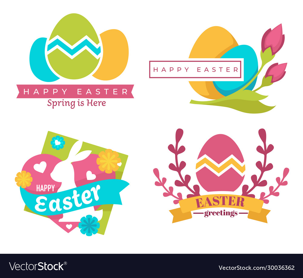 Happy easter isolated icons color eggs and bunny
